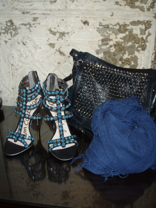 "Sam Edelman Shoes, Chan Luu scarf and Rebecca Minkoff ""moonstruck"" bag."